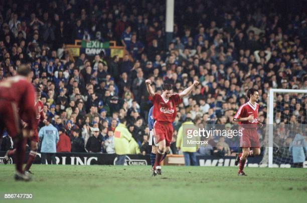 English Premier League match at Goodison Park. Everton 1 v Liverpool 1. Robbie Fowler celebrates after scoring the equalising goal in the 87th...