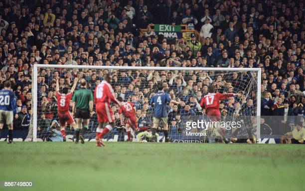 English Premier League match at Goodison Park. Everton 1 v Liverpool 1. Robbie Fowler scores the equalising goal in the 87th minute past grounded...