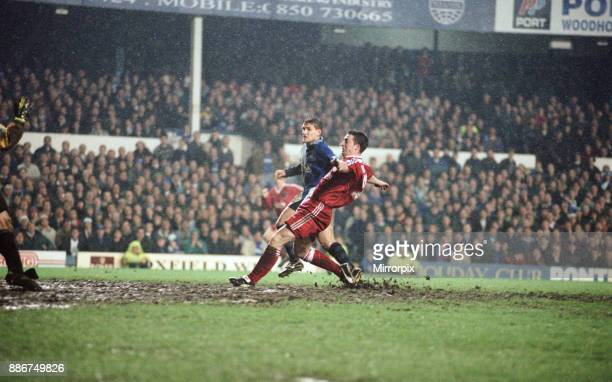 English Premier League match at Goodison Park. Everton 1 v Liverpool 1. Robbie Fowler scores the equalising goal in the 87th minute, 16th April 1996.