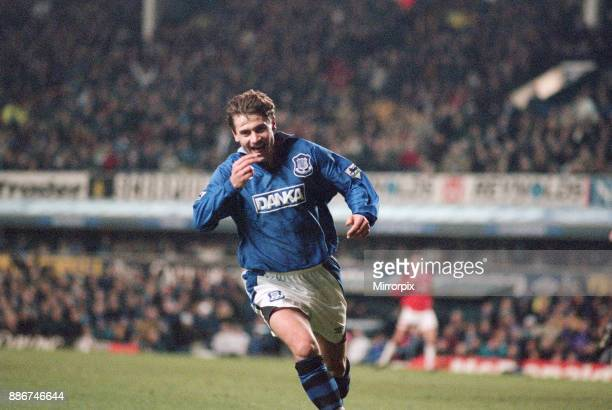 English Premier League match at Goodison Park Everton 4 v Middlesbrough 0 Andrei Kanchelskis of Everton celebrates his goal 26th December 1995