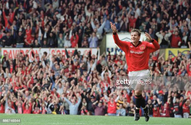 English Premier League match at Old Trafford Manchester United 2 v Liverpool 0 Andrei Kanchelskis celebrates his goal 17th September 1994