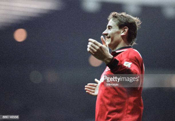English Premier League match at Old Trafford Manchester United 3 v Crystal Palace 0 Andrei Kanchelskis celebrates his goal to put United 30 in the...