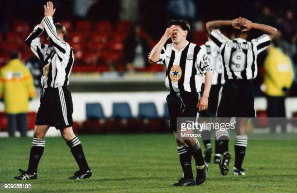 English Premier League match at the City Ground. Nottingham Forest 1 v Newcastle United 1. Despair for Newcastle player Peter Beardsley and teammates...