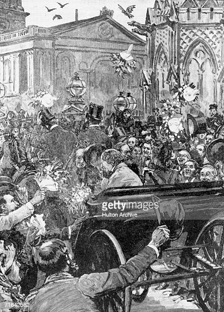 English Prime Minister Benjamin Disraeli 1st Earl of Beaconsfield arrives at Charing Cross Station in London with Foreign Secretary Lord Salisbury to...
