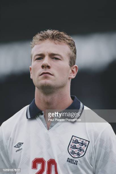 English professional footballer Alan Shearer forward with Southampton pictured prior to playing for the England national team against France in Group...