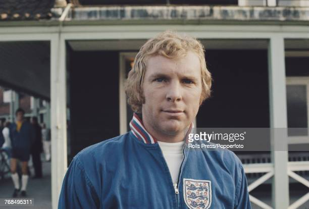 English professional footballer and defender with West Ham United Football Club Bobby Moore pictured attending a training session with the England...