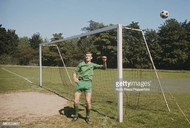 English professional footballer and goalkeeper with Chelsea Football Club Alex Stepney pictured in the goal mouth at Chelsea's training ground at the...