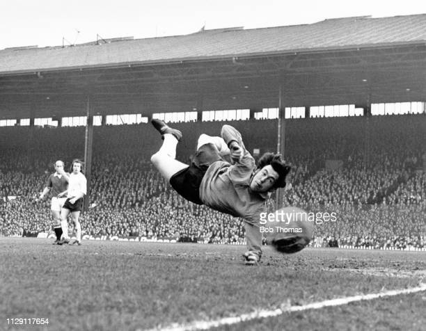 English professional footballer and goalkeeper with Stoke City FC Gordon Banks pictured in action during play in the FA Cup 6th round match between...