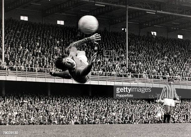 English professional footballer and goalkeeper with Stoke City FC Gordon Banks pictured diving to save the ball during the League Division One match...