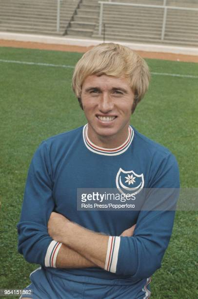 English professional footballer and midfielder with Portsmouth FC Albert McCann posed on the pitch at Fratton Park Stadium in Portsmouth in 1971