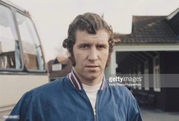 English professional footballer and striker with Chelsea Football Club Peter Osgood pictured attending a training session with the England national...