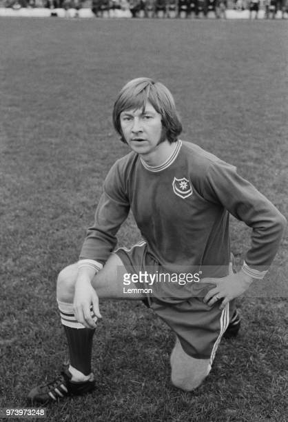 English professional footballer Billy Wilson posed on the pitch at Fratton Park stadium on 24th January 1972 after signing for Portsmouth FC from...