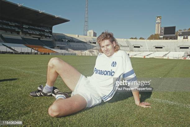 English professional footballer Chris Waddle, midfielder/winger with Olympique de Marseille, pictured on the pitch at the club's Stade Velodrome in...