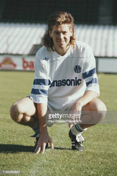 English professional footballer Chris Waddle midfielder/winger with Olympique de Marseille pictured on the pitch at the club's Stade Velodrome in...