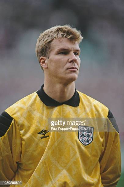 English professional footballer Chris Woods, goalkeeper with Rangers, pictured lining up prior to playing in the international match between Republic...