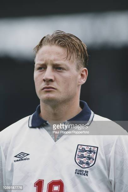 English professional footballer David Batty midfielder with Leeds United posed prior to playing for the England national team against France in Group...