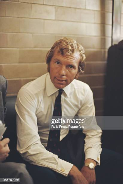 English professional footballer defender with West Ham United Football Club and captain of the England national team Bobby Moore pictured arriving in...