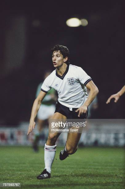 English professional footballer Gary Lineker pictured in action for the England national football team during the FIFA World Cup Group 3...