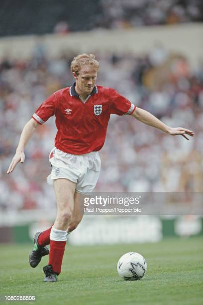English professional footballer Mark Wright defender with Derby County pictured making a run with the ball during play between England and Argentina...