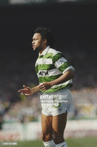 English professional footballer Paul Elliott defender with Celtic FC pictured in action playing for Celtic in a match during competition in the...