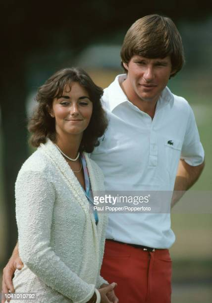 English professional golfer Nick Faldo pictured with his wife Melanie during competition in the 1981 Masters Tournament at Augusta National Golf Club...