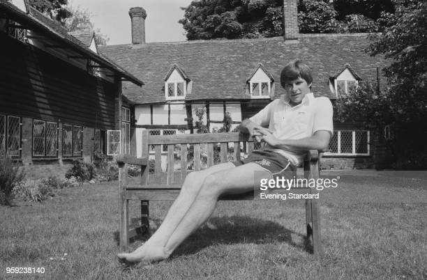English professional golfer Nick Faldo relaxing on bench in a back yard UK 30th may 1978