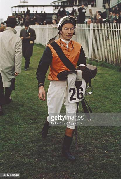 English professional jockey Lester Piggott pictured at a race meeting at Newmarket Racecourse in Suffolk England in 1969