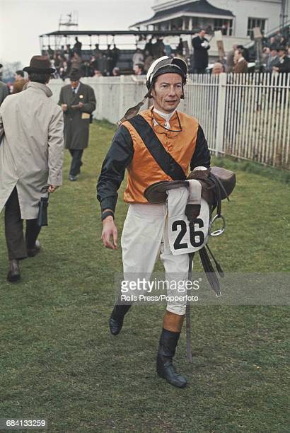 English professional jockey Lester Piggott pictured at a race meeting at Newmarket Racecourse in Suffolk England in April 1969