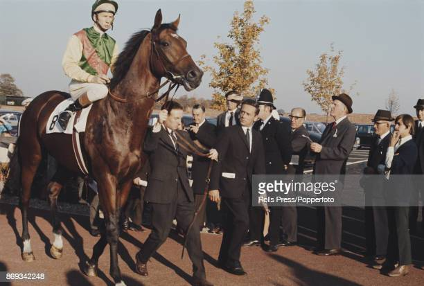 English professional jockey Lester Piggott pictured mounted on the racehorse Nijinsky before competing to finish in 2nd place in the Champion Stakes...