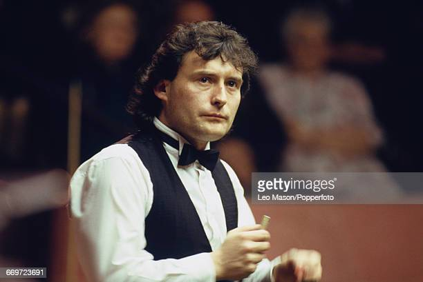 English professional snooker player Jimmy White pictured in action during competition in the 1989 World Snooker Championship at the Crucible Theatre...