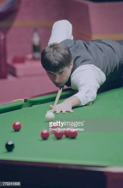 English professional snooker player Ronnie O'Sullivan pictured in action during competition against fellow English snooker player Peter Ebdon in the...