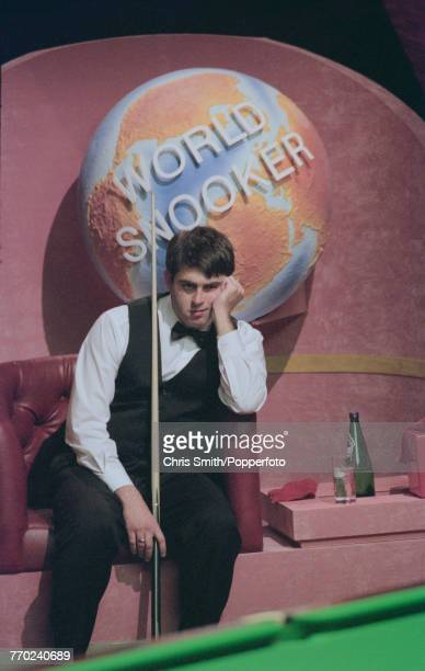 English professional snooker player Ronnie O'Sullivan pictured with a mildly concerned look on his face during competition against fellow English...