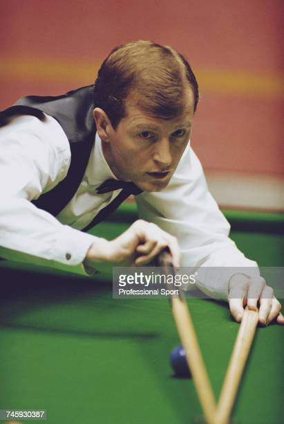 English professional snooker player Steve Davis pictured in action during competition in the 1993 Embassy World Snooker Championship at the Crucible...