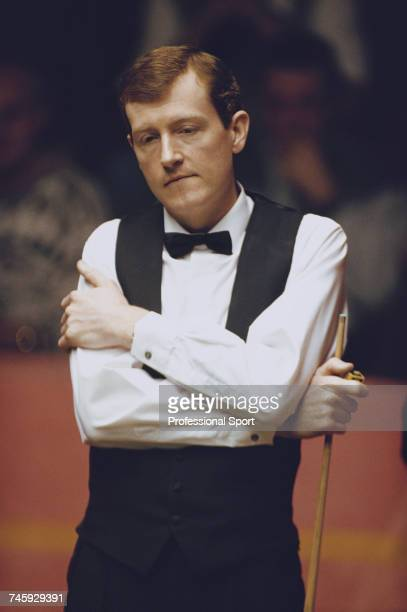 English professional snooker player Steve Davis pictured in thought during competition in the 1993 Embassy World Snooker Championship at the Crucible...