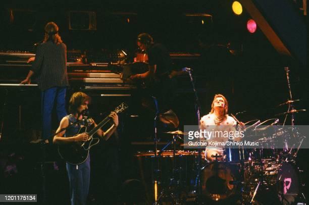 English progressive rock band Asia, live at Budokan, Tokyo, Japan, 6th December 1983. Geoff Downes, Steve Howe, Carl Palmer.
