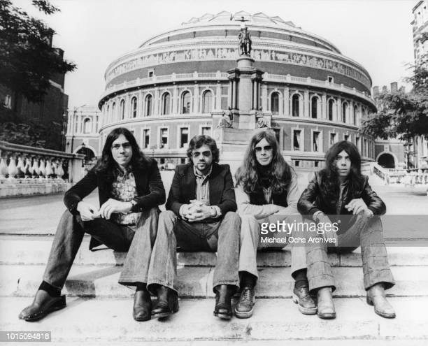 English progressive rock band Camel pose for a Decca Records Publicity still outside The Royal Albert Hall circa 1975 in London England Photo by...