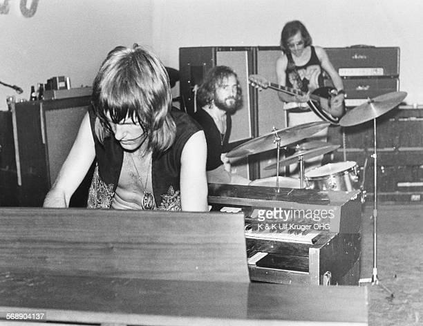 English progressive rock band 'The Nice', Keith Emerson, Brian 'Binky' Davison and Keith 'Lee' Jackson, performing at a club in Hamburg, circa 1968.
