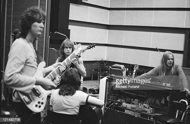 English progressive rock band Yes recording their 'Fragile' LP at Advision Studios in London 20th August 1971 From left to right bassist Chris Squire...