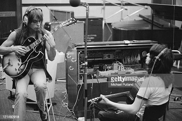 English progressive rock band Yes recording their 'Fragile' LP at Advision Studios in London 20th August 1971 Pictured are guitarist Steve Howe and...