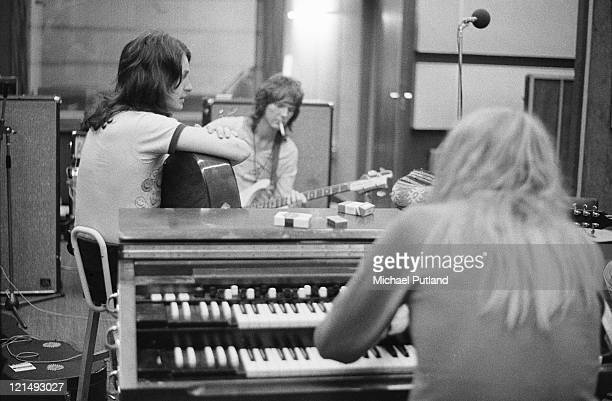 English progressive rock band Yes recording their 'Fragile' LP at Advision Studios in London 20th August 1971 From left to right singer Jon Anderson...