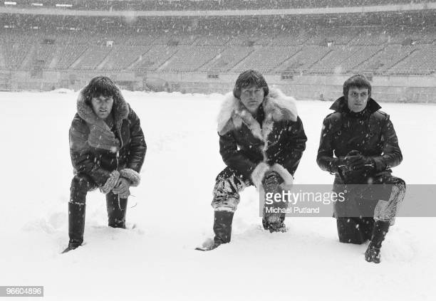 English progressive rock group Emerson Lake and Palmer during rehearsals for the band's 'Works' tour, at the Olympic Stadium, Montreal, Canada,...