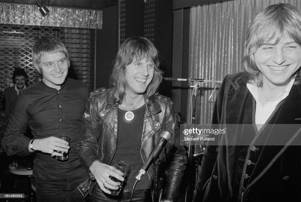 English progressive rock group Emerson Lake and Palmer, London, January 1974. Left to right: drummer Carl Palmer, keyboard player Keith Emerson and bassist Greg Lake.