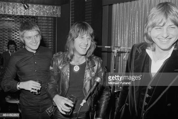 English progressive rock group Emerson Lake and Palmer, London, January 1974. Left to right: drummer Carl Palmer, keyboard player Keith Emerson and...