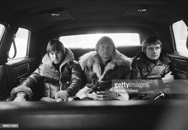 English progressive rock group Emerson Lake and Palmer returning from rehearsals for the band's 'Works' tour, at the Olympic Stadium, Montreal,...