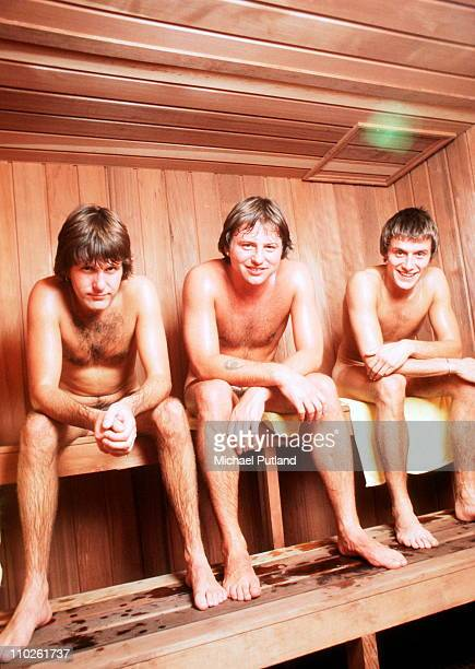 English progressive rock group Emerson Lake and Palmer taking a sauna during rehearsals for the band's 'Works' tour at the Olympic Stadium Montreal...