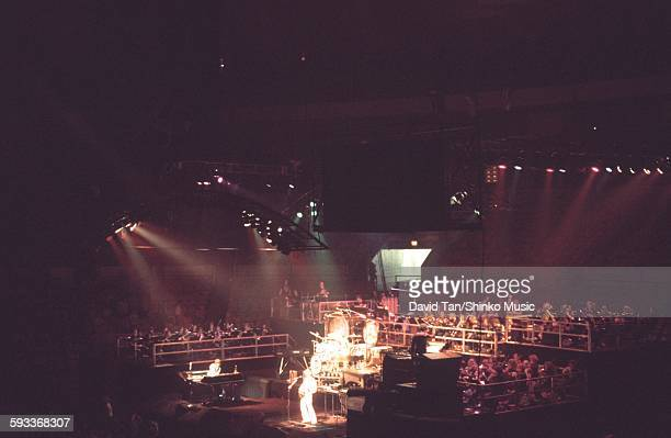 English progressive rock group Emerson Lake Palmer performing at Madison Square Gardens New York City 8th July 1977
