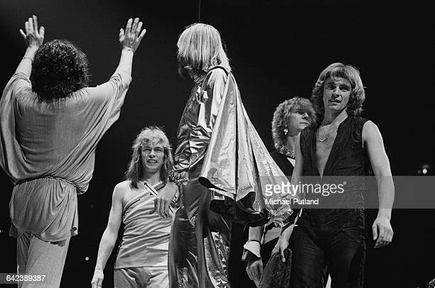 English progressive rock group Yes on stage at Madison Square Garden New York City September 1978 Left to right Jon Anderson Steve Howe Rick Wakeman...