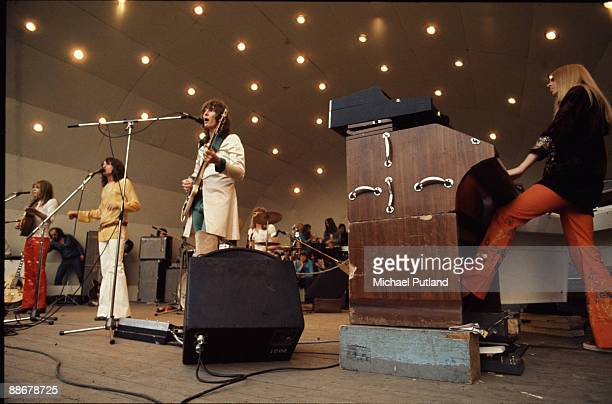 English progressive rock group Yes performing at a Crystal Palace Garden Party event Crystal Palace Bowl London 2nd September 1972 Left to right...