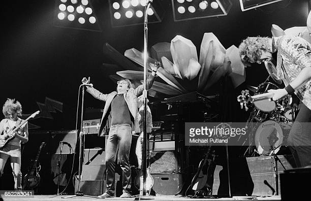 English progressive rock group Yes performing on stage November 1980 Left to right Steve Howe Trevor Horn and Chris Squire