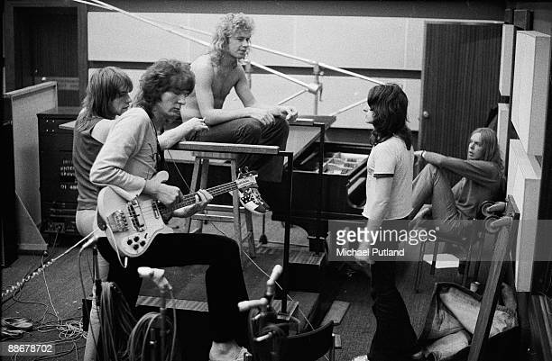English progressive rock group Yes recording their album 'Fragile' at Advision Studios in London September 1971 Left to right guitarist Steve Howe...